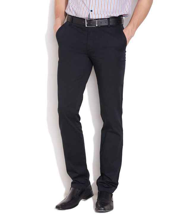 John Players Black Cotton Trousers