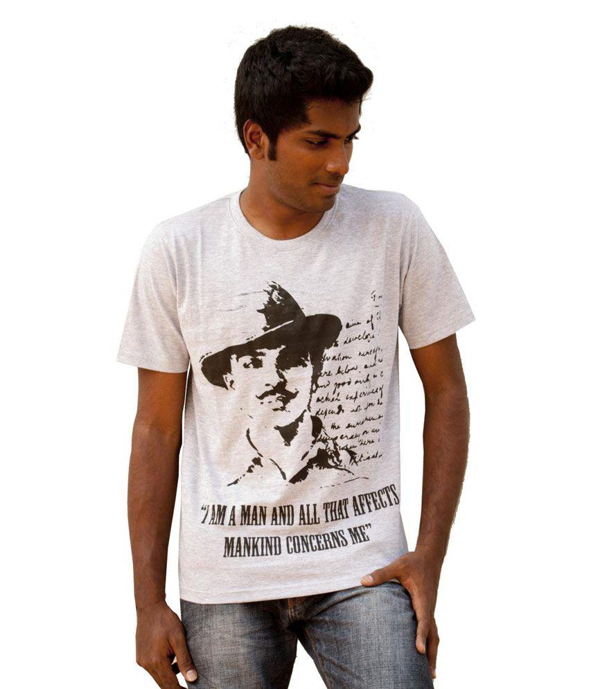 Black t shirt on flipkart - Fotachu Grey Melange Bhagat Singh T Shirt