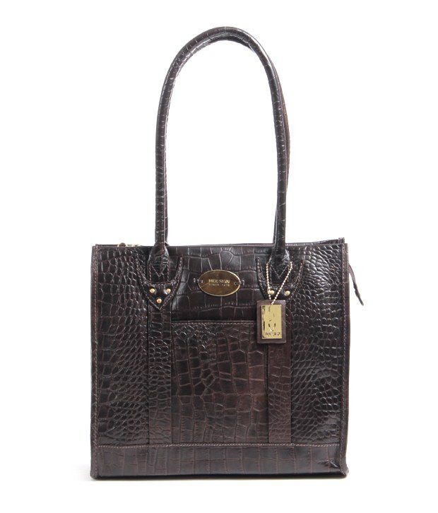 Hidesign Logo Day Croco Brown Shoulder Bag