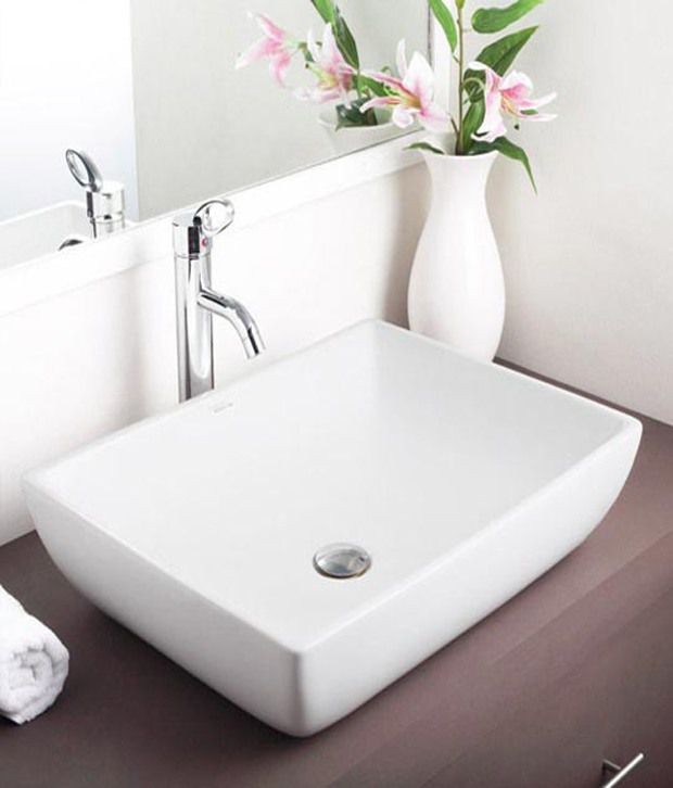 Buy hindware table top basin fonte white 91043 online for Latest wash basin designs india