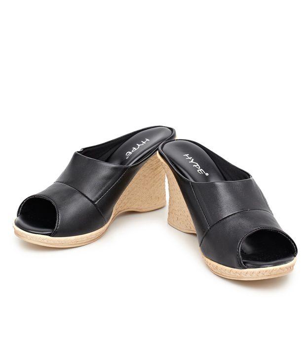 Hype Fab Black Wedge Slip On Heels