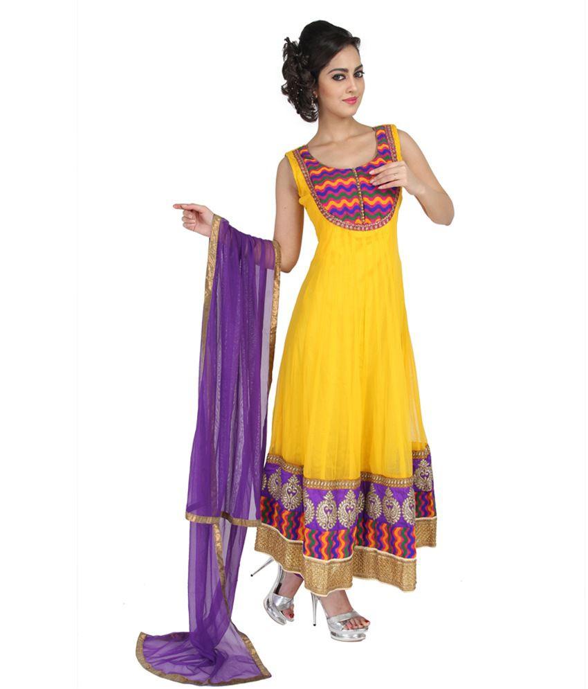 Mina Bazaar Embroidered Net Yellow Anarkali Suit