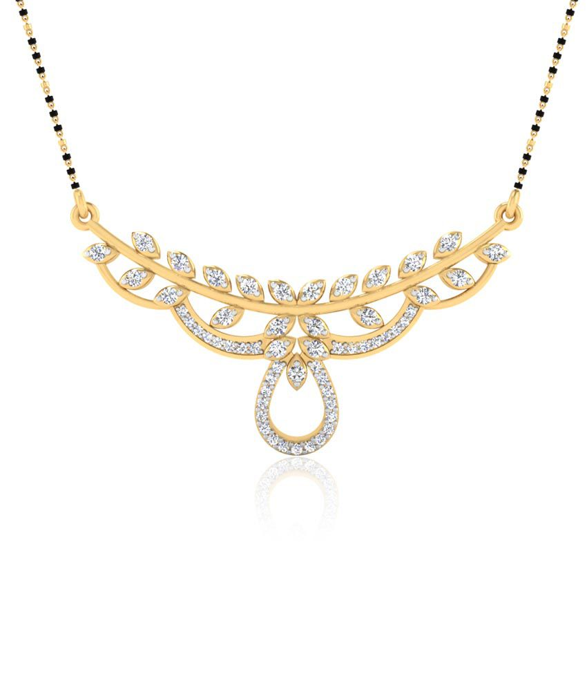 Forever Carat Real Diamond Ritz Mangalsutra in 100% Certified 14kt Gold
