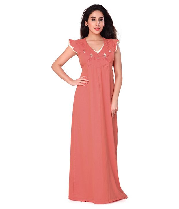 9ac7eeeec5 Buy Honey Dew Coral Cotton Long Knitted Nighty Online at Best Prices in  India - Snapdeal