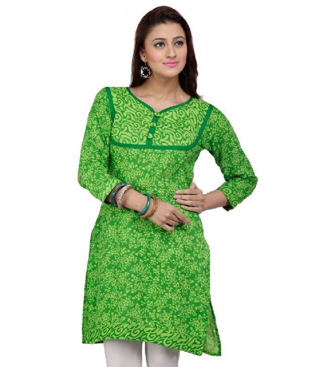 M MERI Green Printed Cotton Kurti