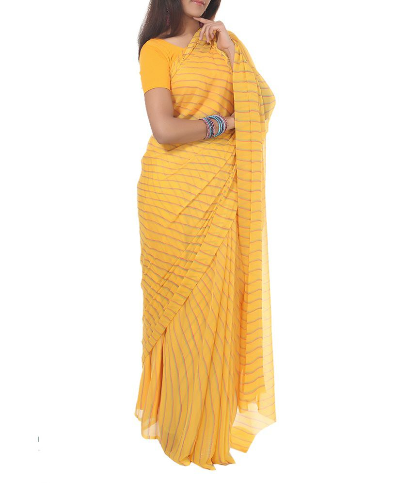 Rajrang Indian Ethnic Faux Georgette Yellow Saree
