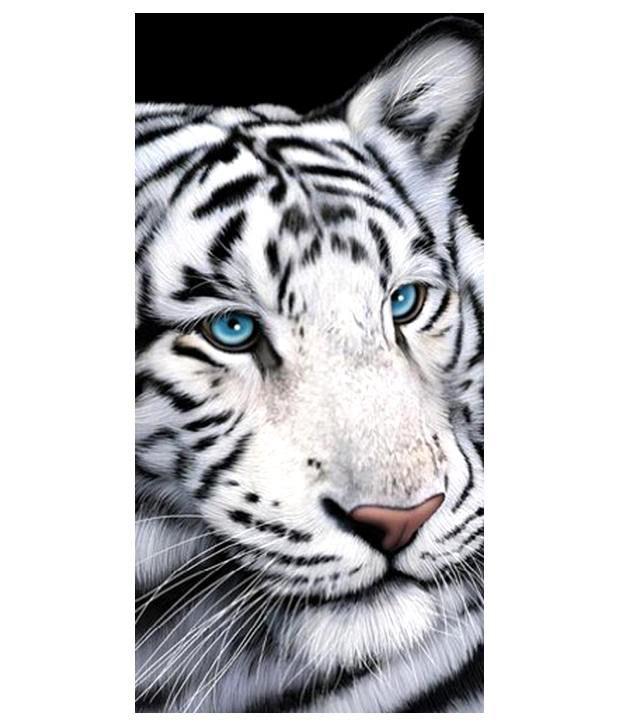"White Tiger Towel Blue Eye 30""x 60"" Beach Towel"