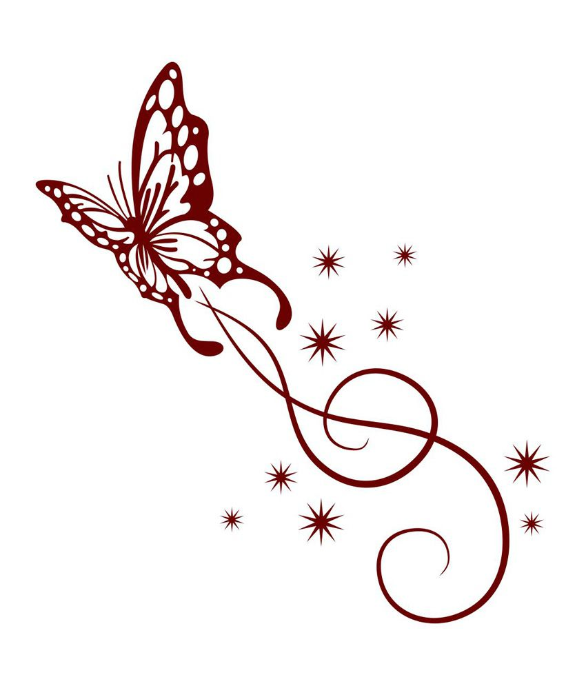 Chipakk Fancy Maroon Butterfly Swirl Wall Sticker
