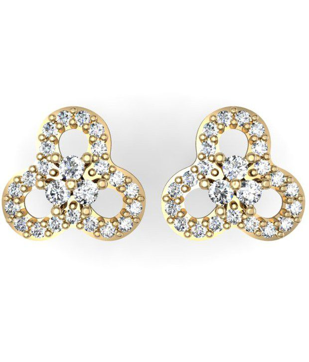 Exquisite Saanvi Diamond  Earring 0.27cts of best quality  diamonds studded in 18kt Gold