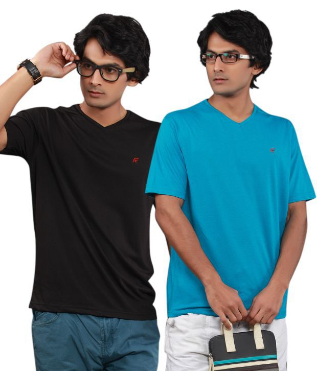 Fort Collins Pack Of 2 Black-Blue T Shirts