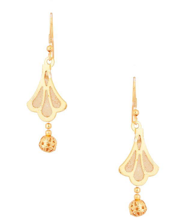 Voylla Golden Clam Shaped Earrings