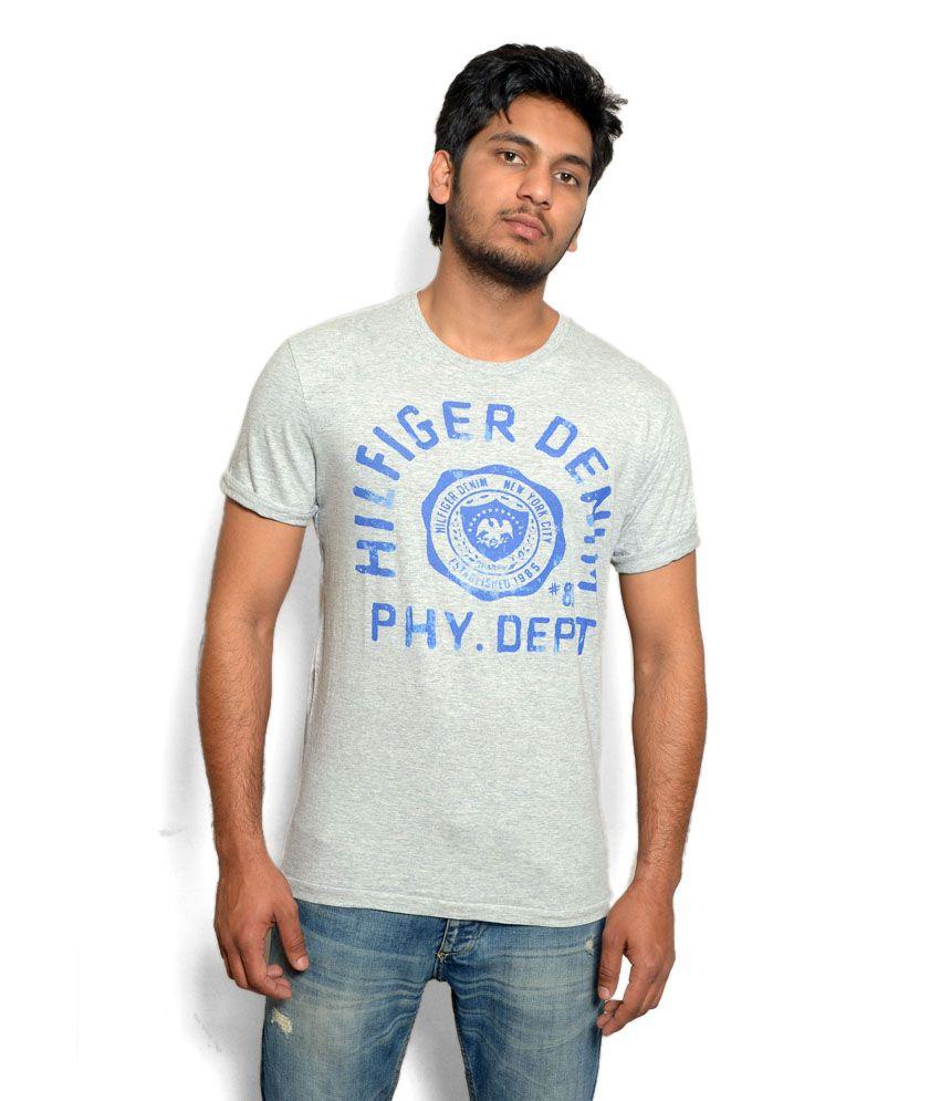 Tommy Hilfiger Grey Printed T Shirt