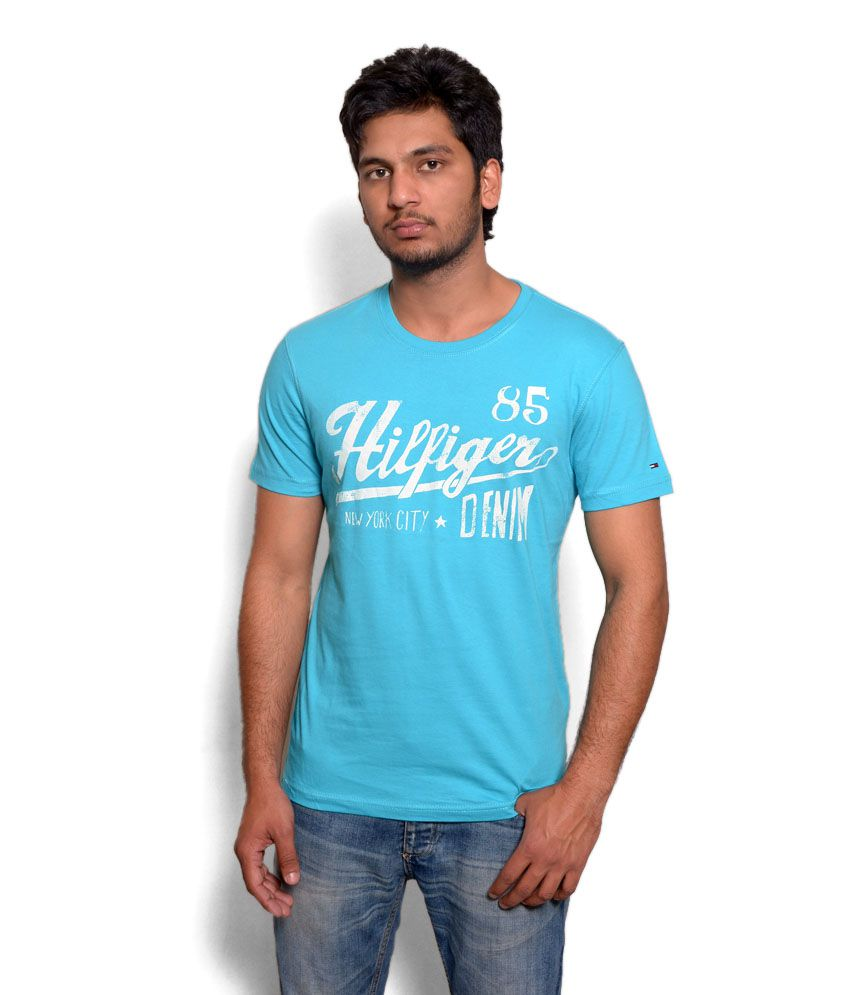 19f8a351 Tommy Hilfiger Sky Blue Printed T Shirt - Buy Tommy Hilfiger Sky Blue  Printed T Shirt Online at Low Price - Snapdeal.com
