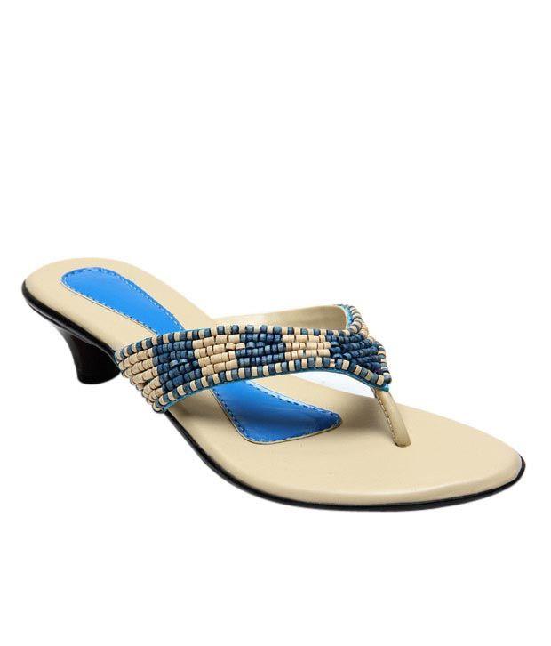 Blue&Bees Blue & Beige Slip-on Heels