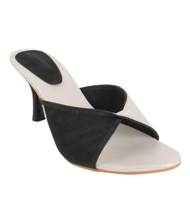 Butterfly Black & White Slip-on Heels