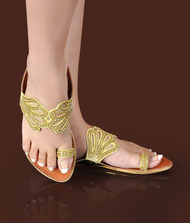 Butterfly Ethnic Golden Flat Slippers
