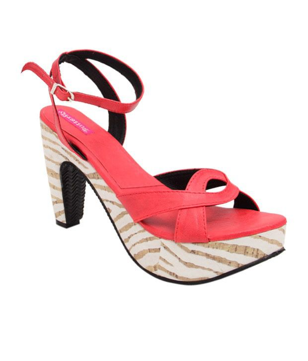 Butterfly Stylish Red Heel Sandals