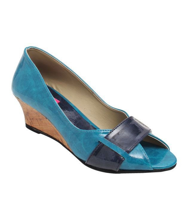 Butterfly Turquoise Blue Wedge Heel Ballerina