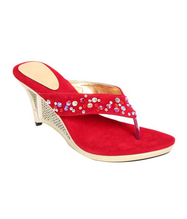 Buttrefly Studded Red Slip-on Heels
