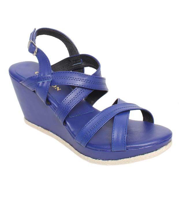 Carlton London Chic Royal Blue Wedge Heel Sandals