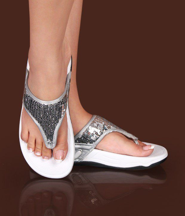 Carlton London Fabulous Sequined Silver Slippers