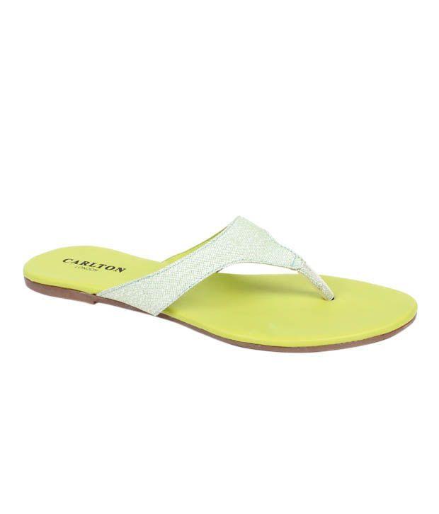 Carlton London Splendid Light Green Flat Slippers