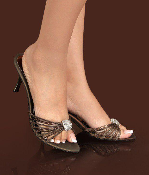 Catwalk Bronze Pencil Heel Sandals