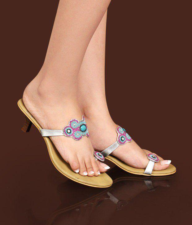 Catwalk Silver & Blue Slip-on Heels