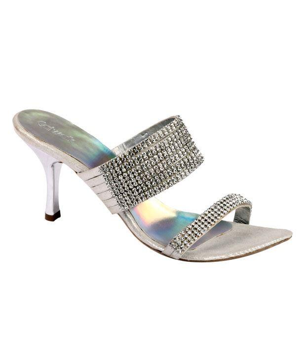 Catwalk Silver Heel Slip-on Sandals