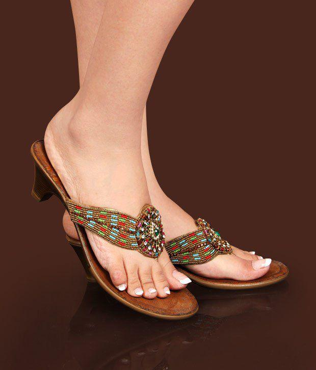Catwalk Stylish Bronze Slip-on Heels