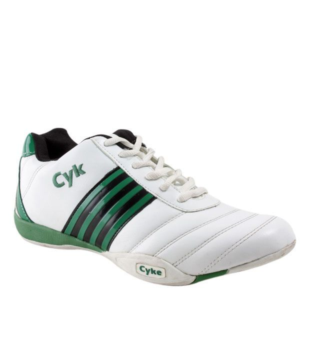 Cyke Durable White & Green Sport Shoes
