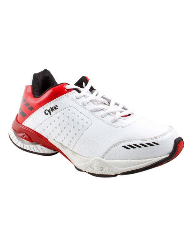 Cyke Steady White & Red Sport Shoes