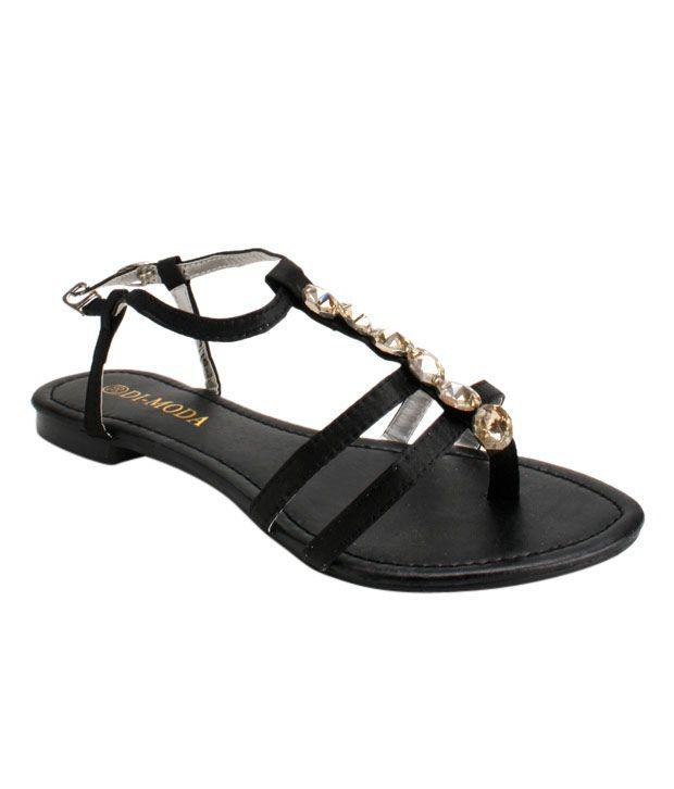 Di-Moda Black Flat Sandals