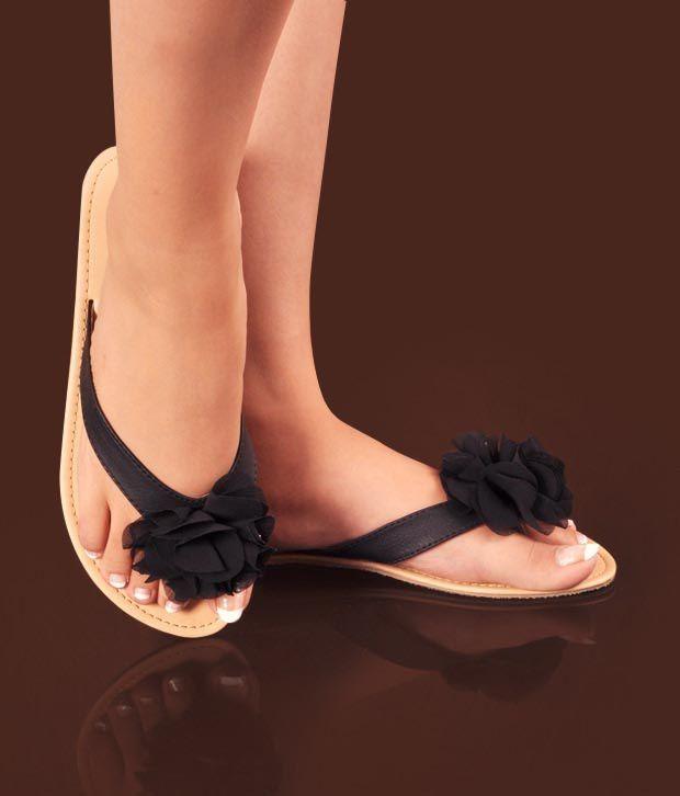 Di-Moda Black Flower Slip-on Slippers
