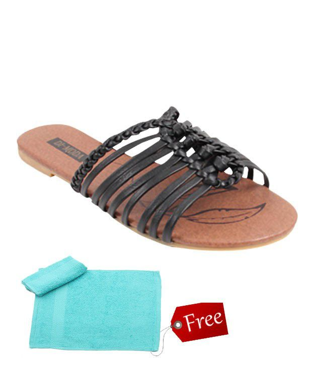 Di-Moda Calm Black Slippers With Free Towel