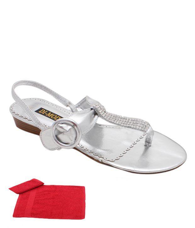 Di-Moda Splendid Silver Heel Sandals With Free Towel