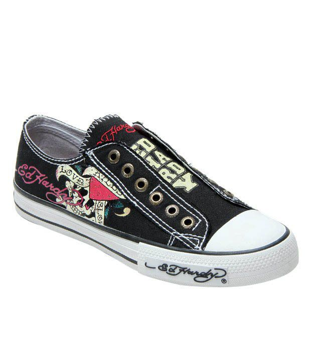 Ed Hardy Black Canvas Shoes