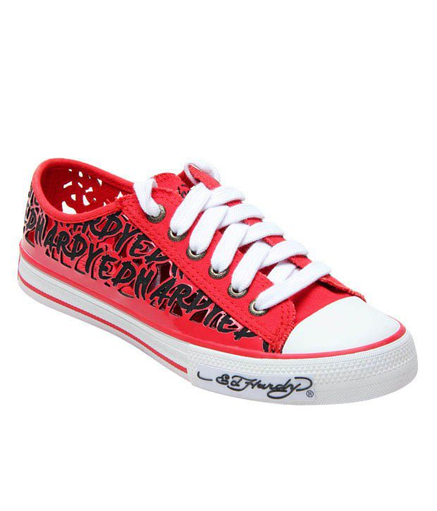Ed Hardy Red Cut Out Canvas Shoes