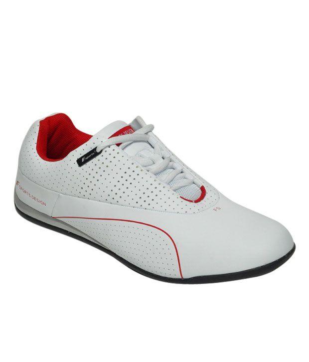 F Sports Vigorous White & Red Sports Shoes