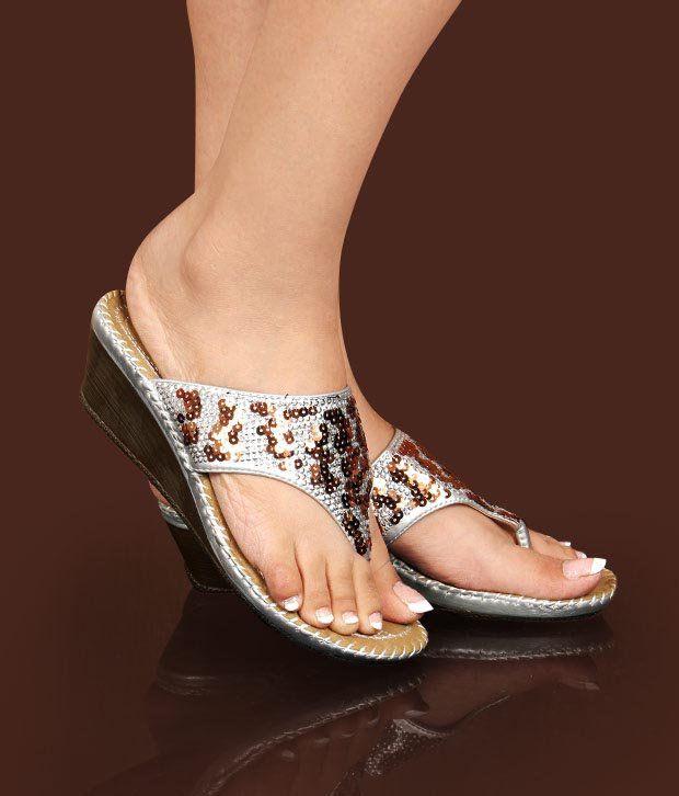 Hi-Fashion Silver Sequins Slip-on Heels
