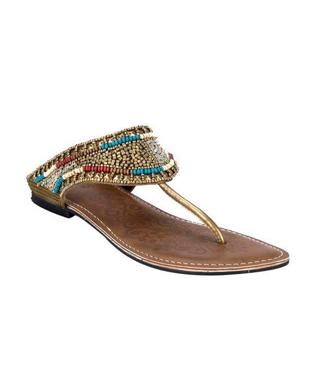 Inc.5 Antique Golden Beads Slippers