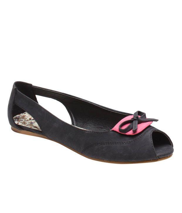Jove Designer Black & Pink Bow Ballerinas