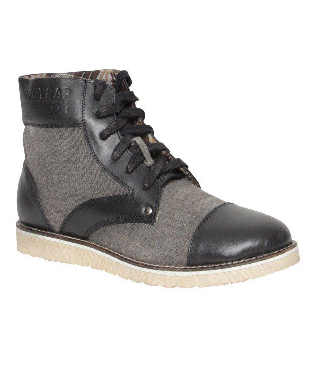 Krush Feisty Black & Grey High Ankle Boots