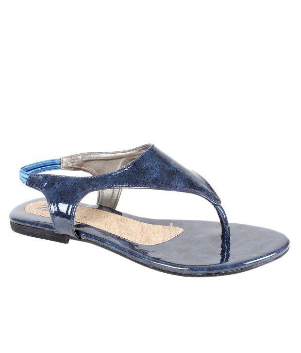 Neat Shiny Navy Blue Sandals