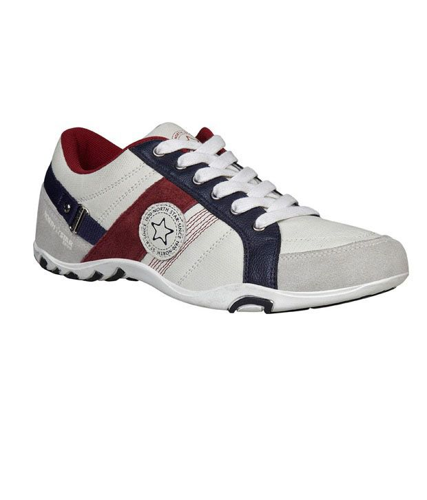 North Star Cream & Maroon Casual Shoes ...