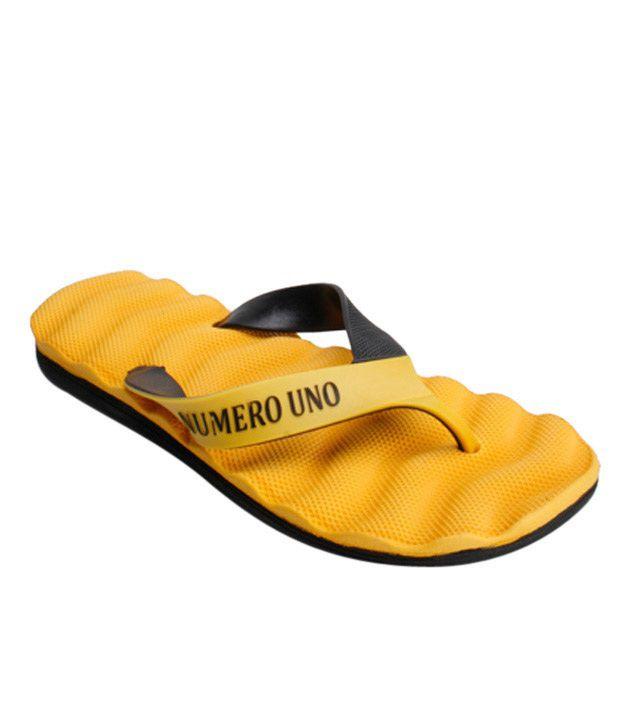Numero Uno Yellow & Black Flip Flops