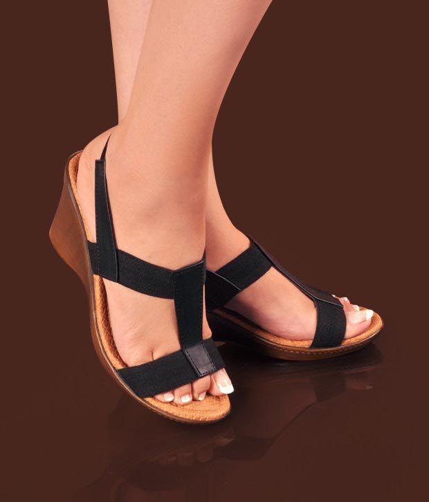 Pink Black Wedge Heel Sandals