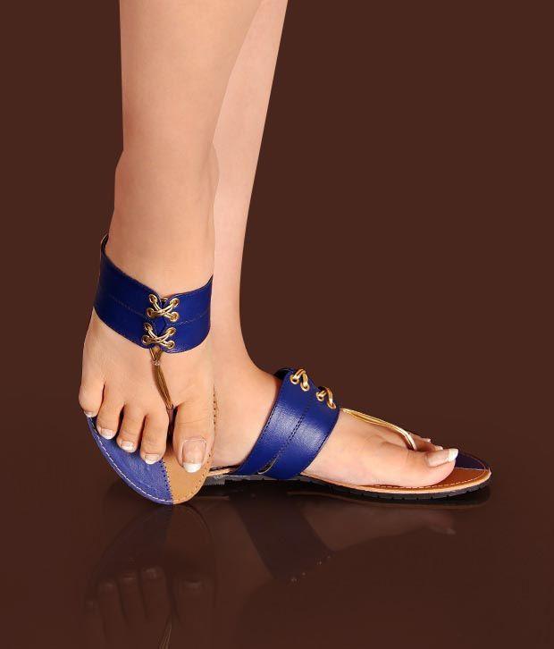 Pink Elegant Royal Blue Slippers