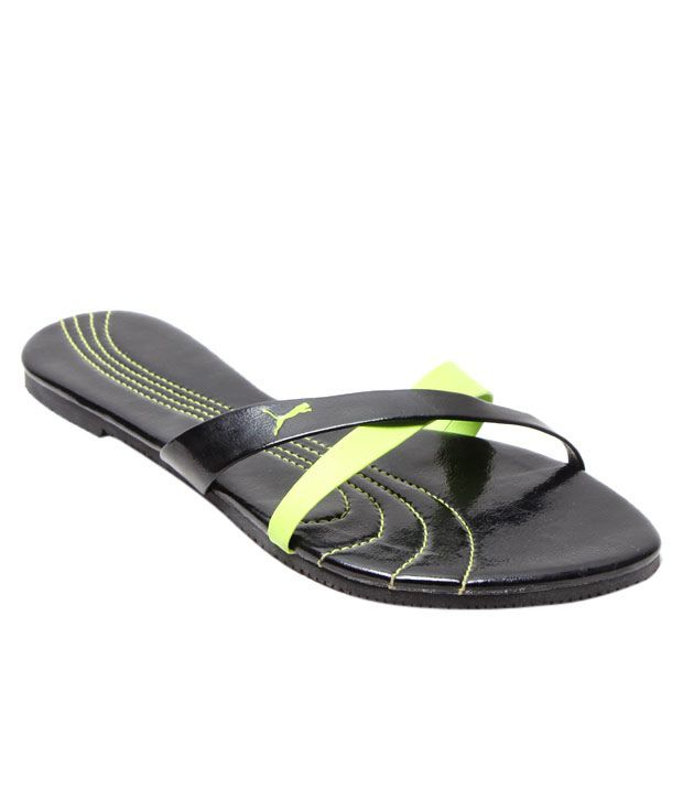 Puma Black & Green Grace Slippers