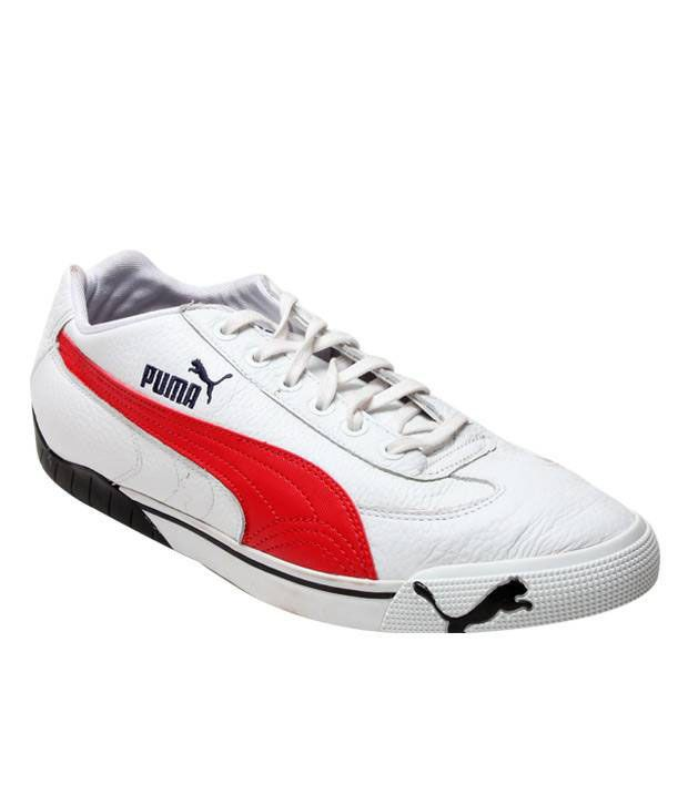 Puma Dynamic White & Red Sports Shoes